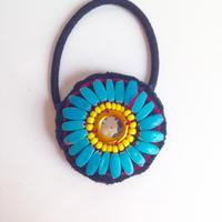 ビーズメダリオン ヘアアクセ アフガニスタン ターコイズ Afghanistan beaded medalion hair accessory HG-0002
