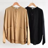 Veritecoeur / ノーカラー切替ポケットシャツ st-046