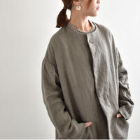 Vlas Blomme/13417391/Wild Linen Wool ノーカラーコート