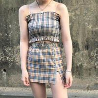 Beige Check Tube Top