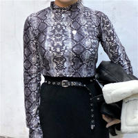 Half Turtle Neck Python Long Sleeve Shirt(2colours)