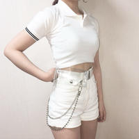 Cropped Polo Shirt White