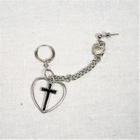 [Hand made]Cross Heart Chain Double Earrings