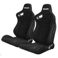 2脚【Braum Racing  セミバケットシート ブラックファブリック】