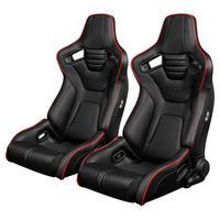 2脚【Braum Racing  セミバケットシート Elite-R ブラックレザー&レッドパイピング】