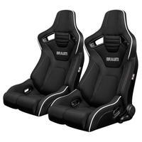 2脚【Braum Racing  セミバケットシート Elite-R ブラック&白パイピング】