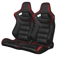 2脚【Braum Racing セミバケットシート ブラック&赤】