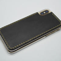 iPhone XS・X ケース【革張りタイプ】黒/クリア