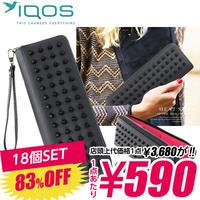 SZ-01-A 【590円×18個SET】iQOS アイコス 専用ケース スタッズ メンズ レディース ポーチ / ブラック×ピンク