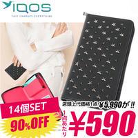SZ-10-B 【590円×14個SET】iQOS アイコス 専用ケース スタッズ メンズ レディース ポーチ / ブラック×ピンク