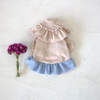 タンガリースカートフリルワンピース(Ash pink)