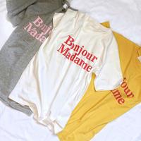 【即納】Bonjour tee(ivory/gray/yellow)