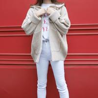 【即納】loose knit hoodie / graybeige