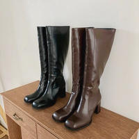square toe long boots / 2color