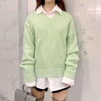 lime V neck knit