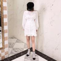 shirring mini ops / white