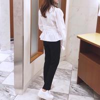 slim hem slacks / black