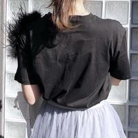 【即納】feather tee / black ※数量限定