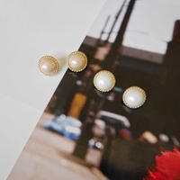 【即納】big pearl pierce(ivory/pink)