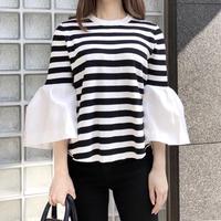 bell sleeve knit / stripe