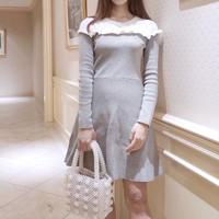 【即納】frill knit ops / gray