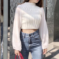 chiffon sleeve knit / white