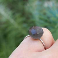 K10 candy ring  - gray moon stone -