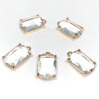 15A-18 クリスタル/石枠付きガラスチャーム【2個】