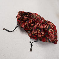 makura kinchaku-batik dark red-