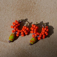 India grass pierce/earrings -orange-