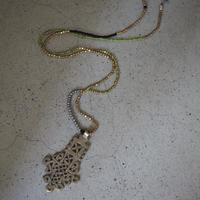 Ethiopian cross necklace -pistàcchio B-