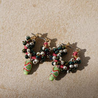 India grass pierce/earrings -mix green-