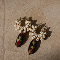 India grass pierce/earrings -cream-
