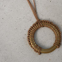 braid brass necklace BEIGE