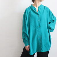 BIG SILHOUETTE BAND COLLAR SILK SHIRT