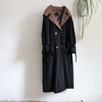 BI COLOR DOUBLE BREASTED HOODED COAT