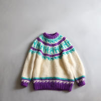 MOHAIR WOOL NORDIC KNIT SWEATER
