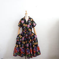 EURO VINTAGE OPENCOLLAR COTTON TIERED DRESS