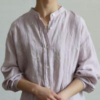 PIN TUCK BAND COLLAR LINEN SHIRT