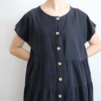 FRENCH SLEEVE COTTON TIERED LONG DRESS