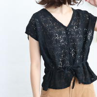 FRENCH SLEEVE COLLARLESS LACE BLOUSE