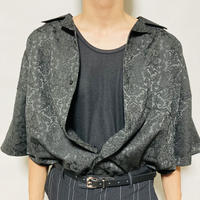 ジャガード5分袖開襟シャツ (ブラック)