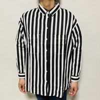 ストライプ柄BIGシャツ(ブラック×ホワイト)