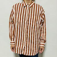 ストライプ柄BIGシャツ(ブラウン×ホワイト)