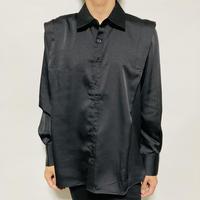 ショルダープリーツBIGシャツ(ブラック)