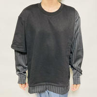 アシンメトリー レイヤードシャツトレーナー(ブラック)