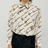 ホース&英字バイアスストライプシャツ