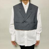 フェイクベスト付2way BIGシャツ(ホワイト×グレー)