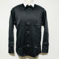 【在庫問い合わせ商品】衿切替デザインシャツ(ブラック)