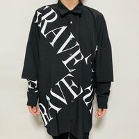クロスロゴフェイクレイヤードBIGシャツ(ブラック)